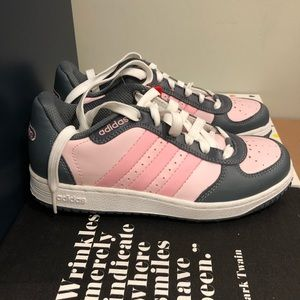 Kids Girls Pink Gray Adidas Sneakers 2.5